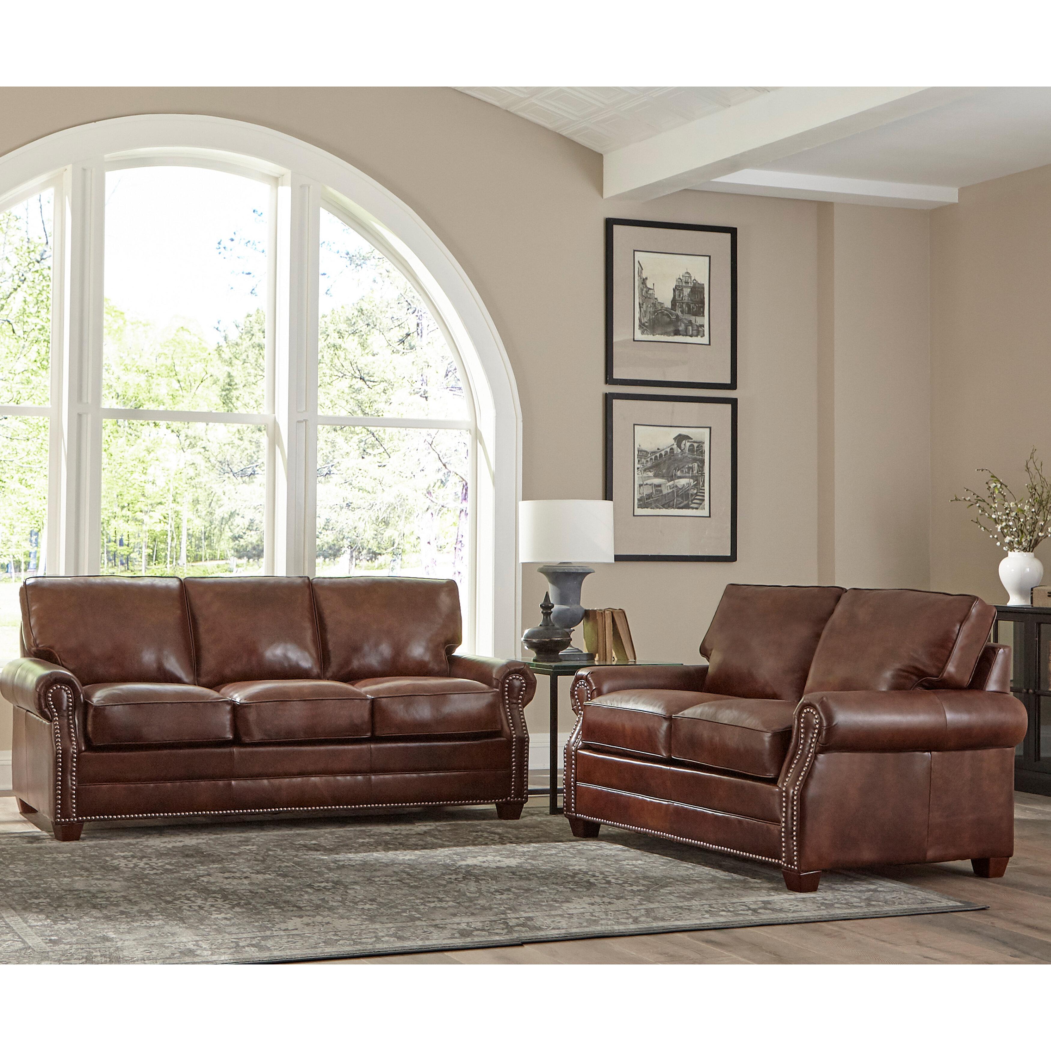 17 Stories Lyndsey 2 Piece Leather Sleeper Living Room Set Wayfair