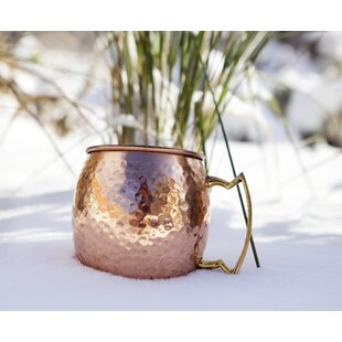 16 oz Hammered Copper Barrel Mug With Brass Handle