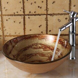 Online Reviews Elite Glass Circular Vessel Bathroom Sink By Elimaxs