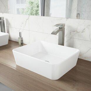Read Reviews VIGO Matte Stone Rectangular Vessel Bathroom Sink with Faucet By VIGO
