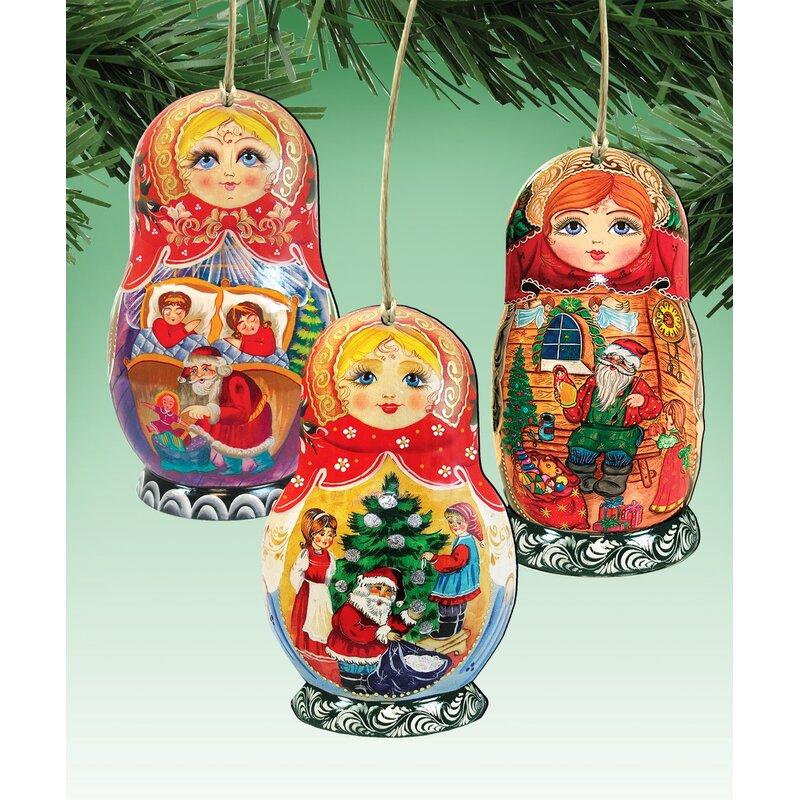 The Holiday Aisle 3 Piece Christmas Dolls Wooden Hanging Figurine Ornament Set Wayfair