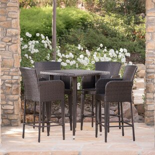 Sallee Outdoor Wicker 5 Piece Pub Table Set