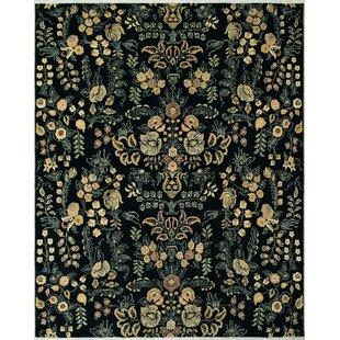 Reviews Rodrigez Hand-Knotted Wool Black Area Rug ByAstoria Grand