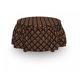 Fleur De Lis Heraldic 2 Piece Box Cushion Ottoman Slipcover Set By East Urban Home