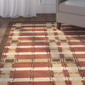 Colorweave Plaid Hand-Tufted Rust Area Rug