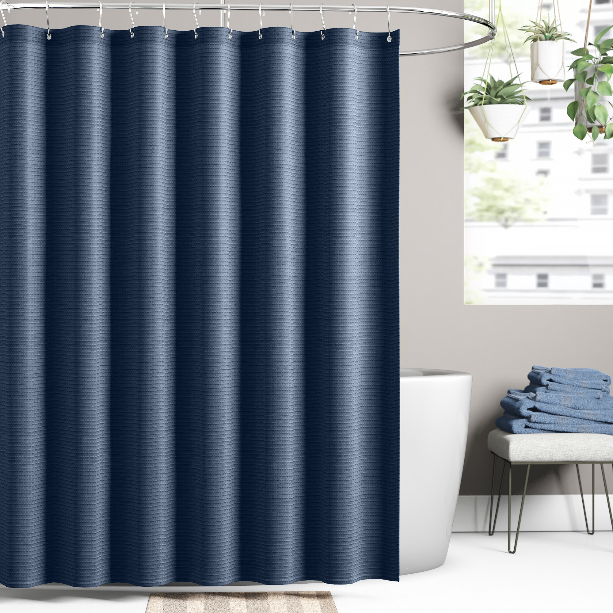 Westminster Textured Waffle Fabric Single Shower Curtain