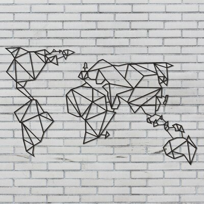 Hokku designs world map geometric metal wall dcor wayfair world map geometric metal wall dcor gumiabroncs Image collections