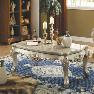 Astoria Grand Taconite Marble Top Wooden Coffee Table