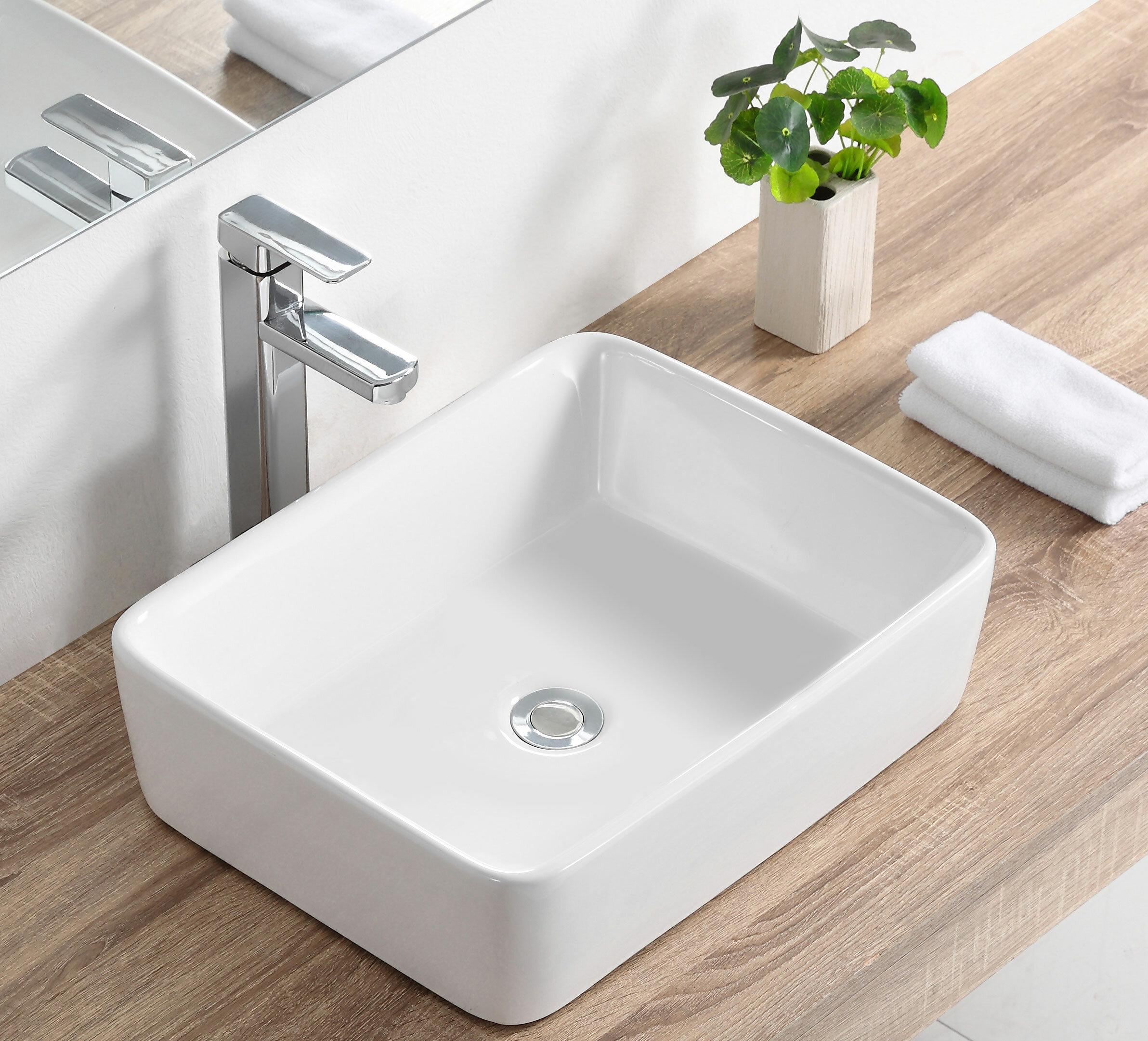 Deervalley White Ceramic Rectangular Vessel Bathroom Sink Reviews Wayfair