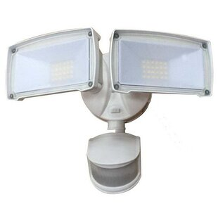 Deck Impressions Dual Head LED Dusk to Dawn Outdoor Security Flood Light with Motion Sensor