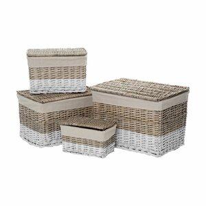 Lido 4 Piece Rectangular Storage Willow Basket Set