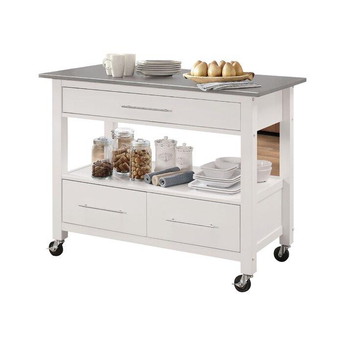 Monongah Rectangular Kitchen Cart With Stainless Steel Top