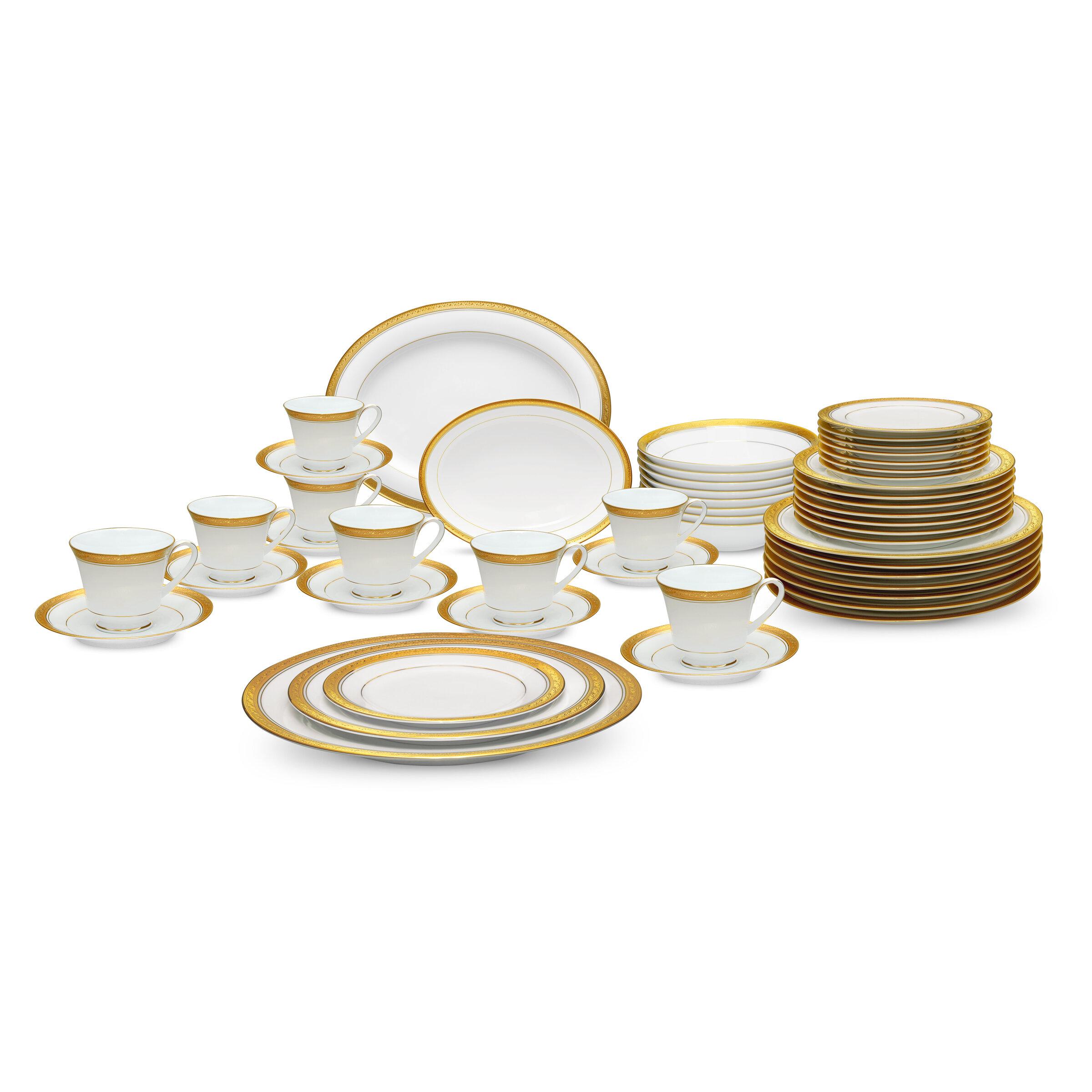 Noritake Crestwood Gold 50 Piece Dinnerware Set Service for 8 u0026 Reviews   Wayfair  sc 1 st  Wayfair & Noritake Crestwood Gold 50 Piece Dinnerware Set Service for 8 ...
