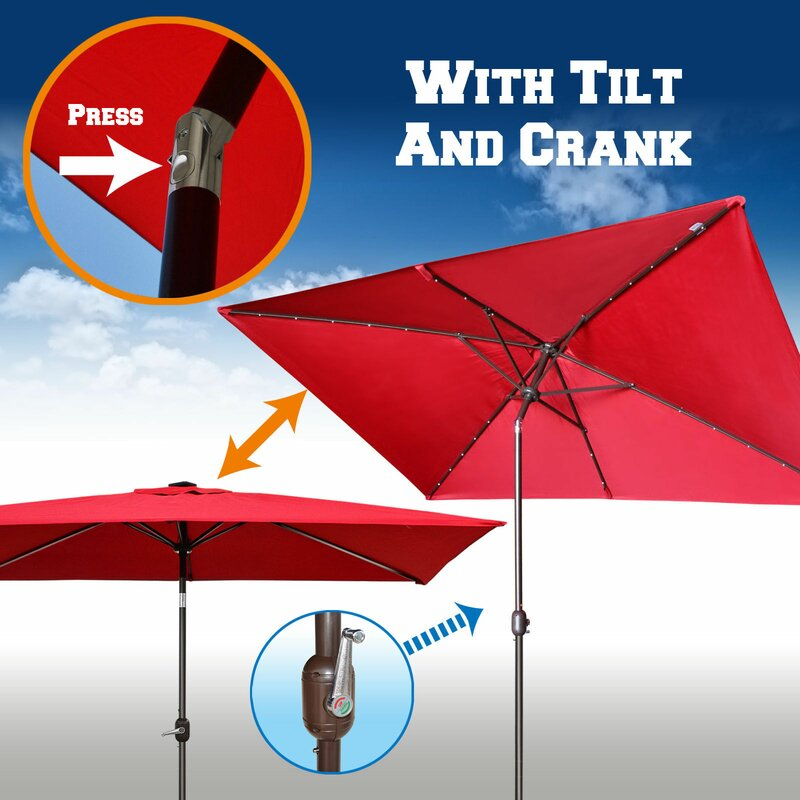 Rectangular Led Umbrella: Red Barrel Studio Finn 10' X 6.5' Rectangular Lighted