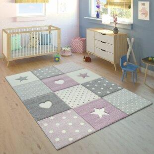 Schöner Flachgewebe Kinderzimmer Teppich Verspieltes Druckmotiv Stern Pink