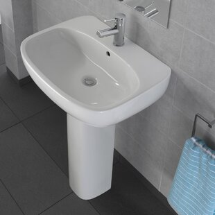 Best Reviews Moda Vitreous China 22 Pedestal Bathroom Sink with Overflow By Bissonnet
