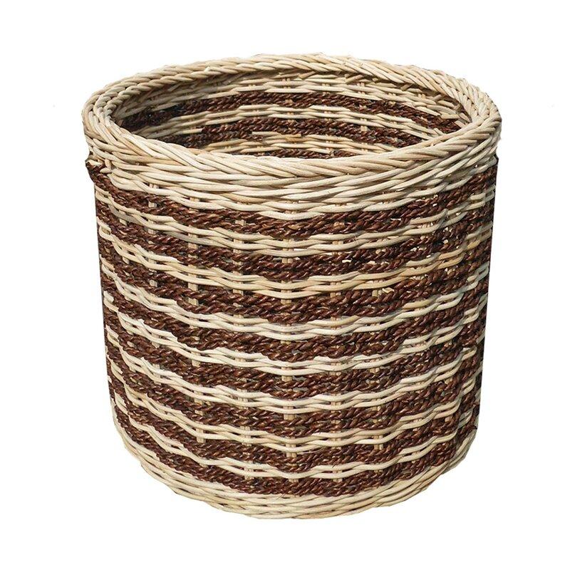 Bayou Breeze Abaca Stripe Storage Wicker Basket Wayfair