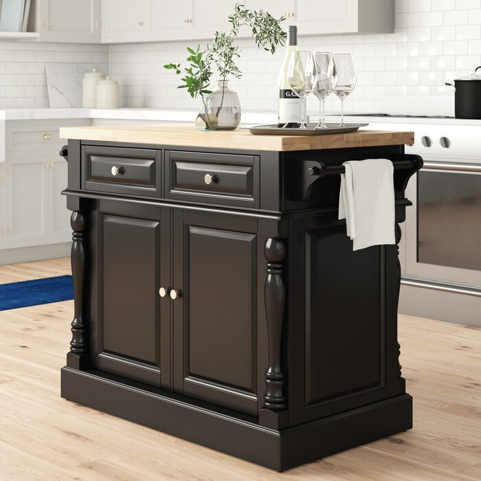 Haslingden Kitchen Island with Butcher Block Top