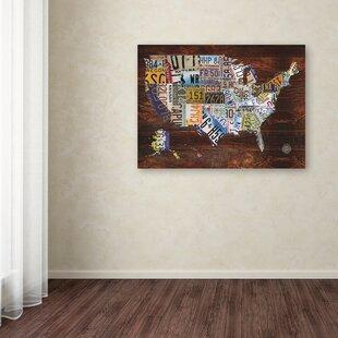 U0027USA License Plate Map On Woodu0027 Graphic Art Print On Canvas
