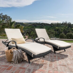 Darby Home Co Acad Outdoor Wicker Arm Chaise Lounge (Set of 2)