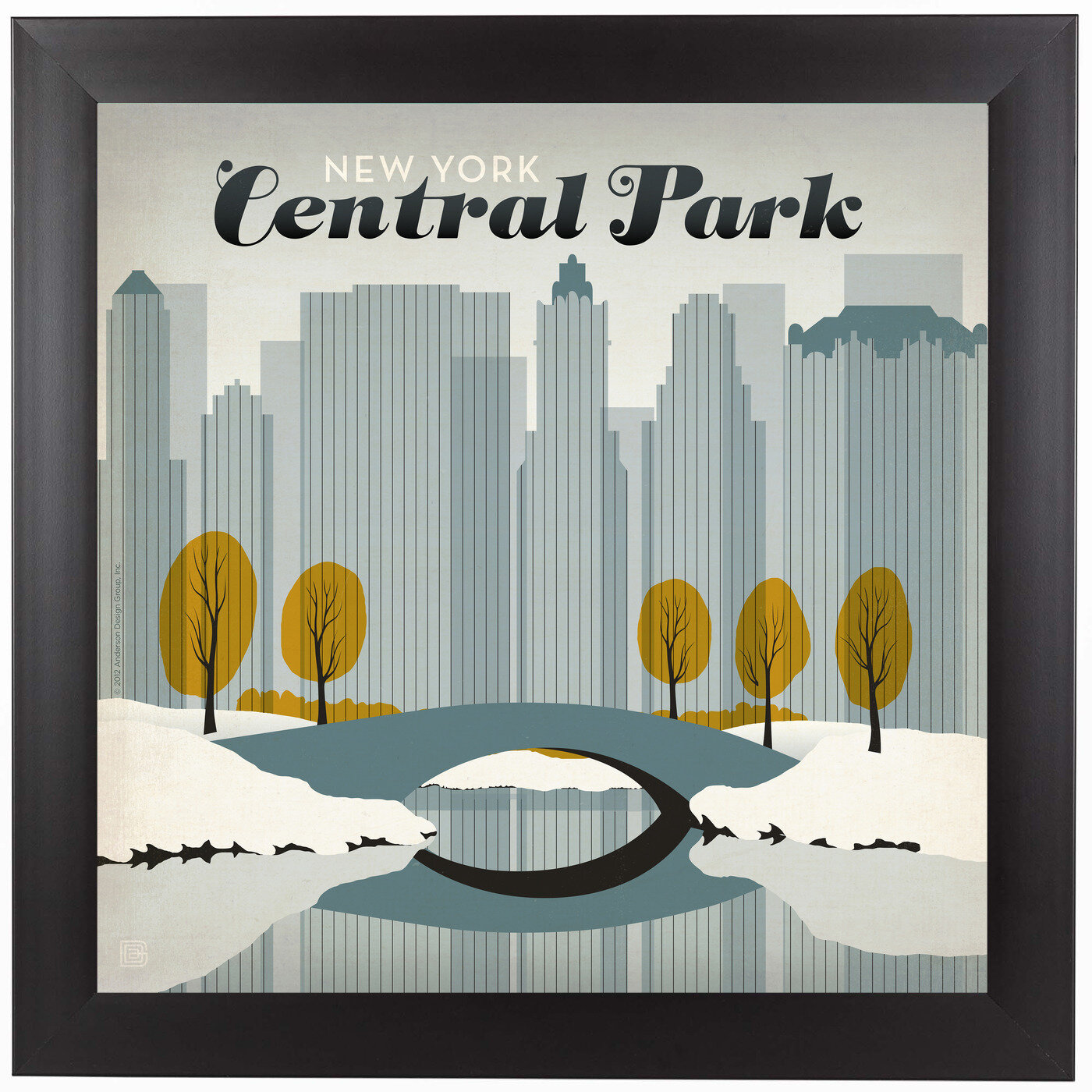 East Urban Home Central Park Snow Framed Vintage Advertisement Wayfair