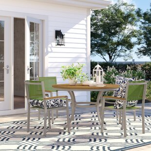 Caspian 5 Piece Dining Set with Green Sling Back chairs