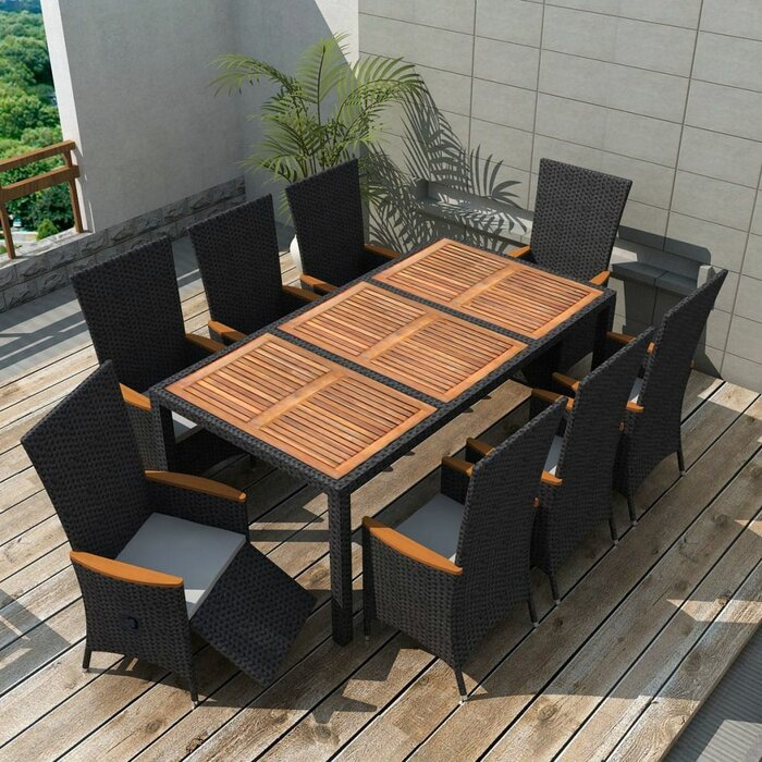 Peachy Tidworth Outdoor 9 Piece Dining Set With Cushions Cjindustries Chair Design For Home Cjindustriesco