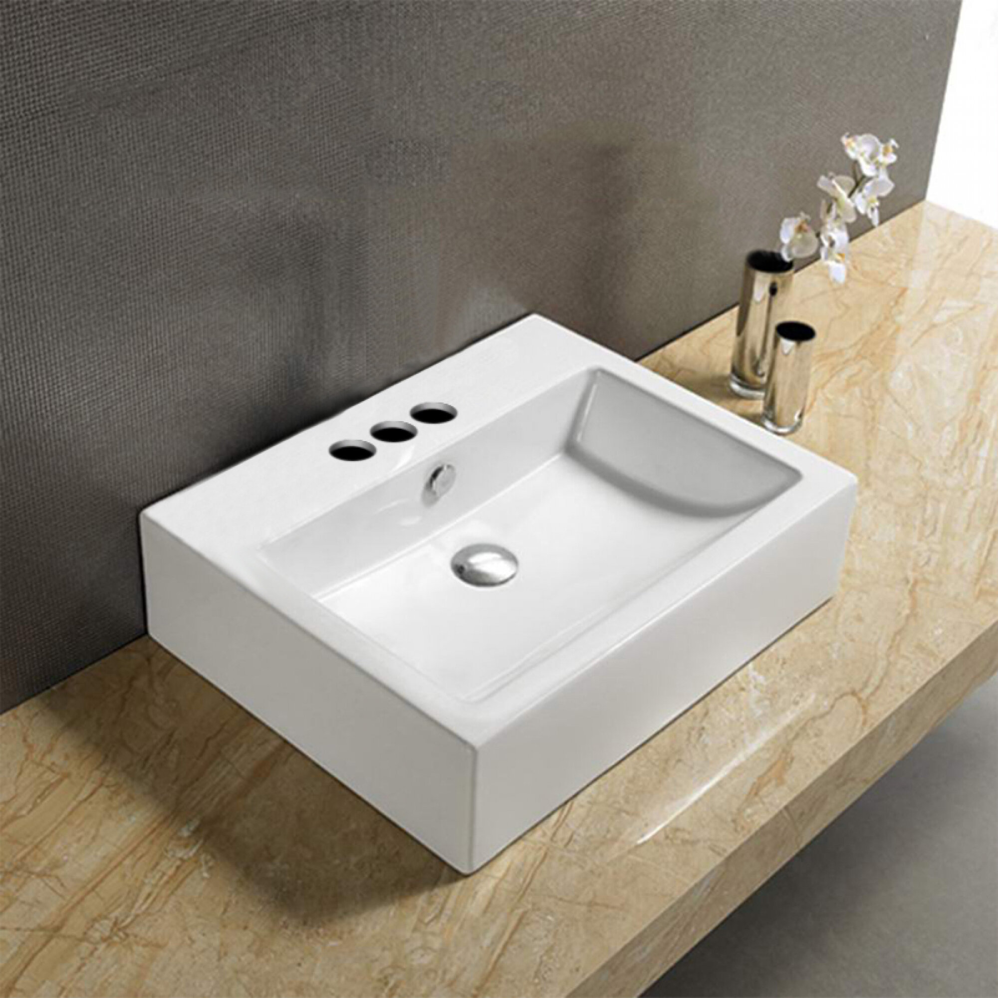 American Imaginations Above Counter Center Drilling Ceramic Rectangular Vessel Bathroom Sink With Overflow Wayfair