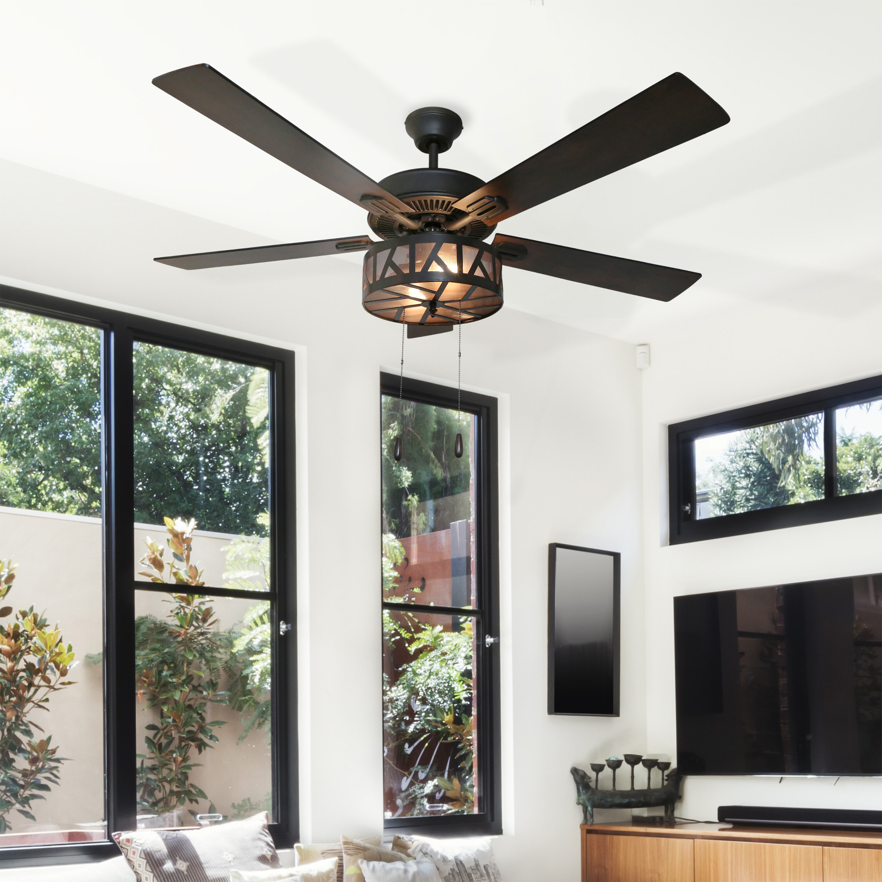 Andover Mills 52 Morrow 5 Blade Caged Ceiling Fan With Light Kit Included Reviews Wayfair