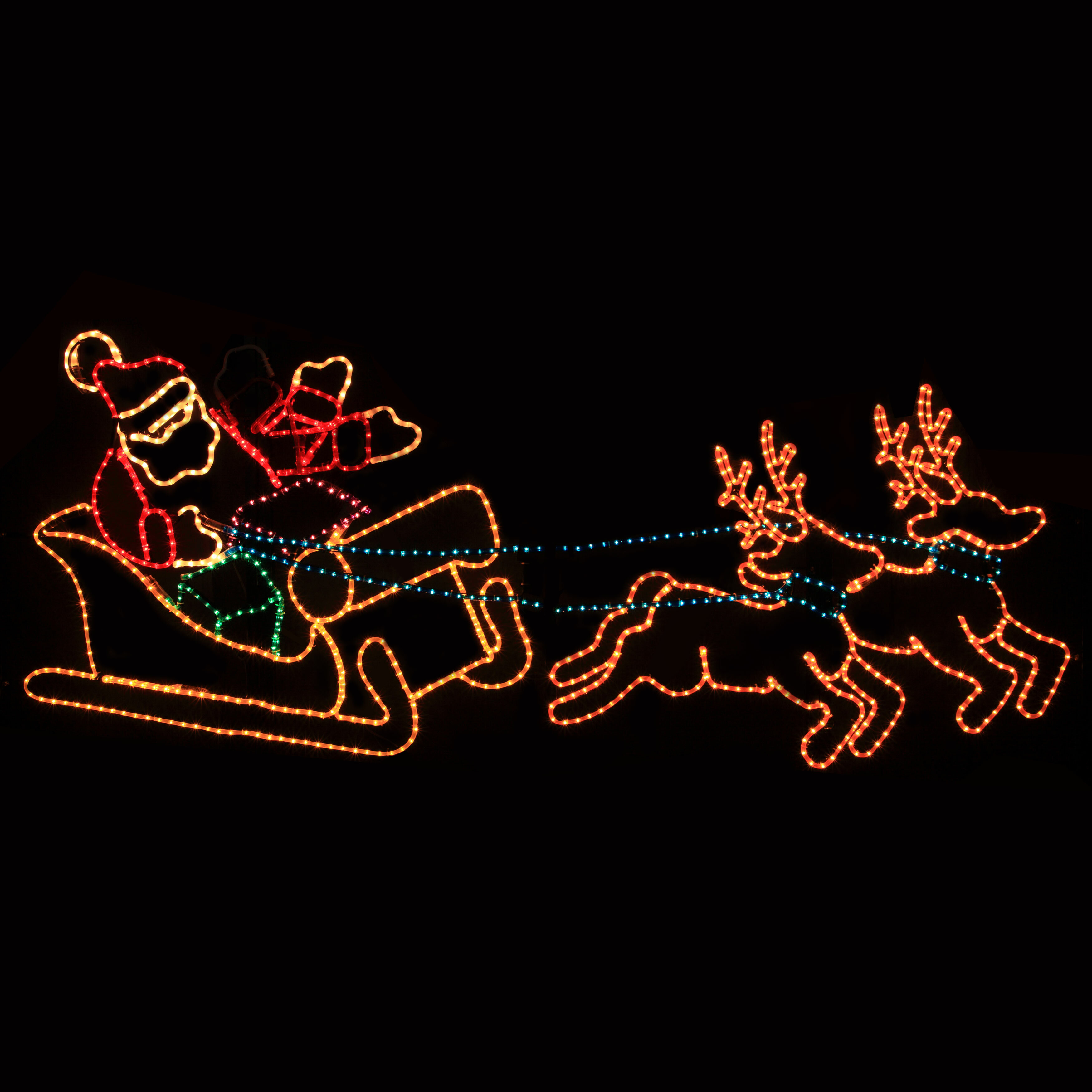 5f1e7025fc The Holiday Aisle Animated Waving Santa in Sleigh Rope Light