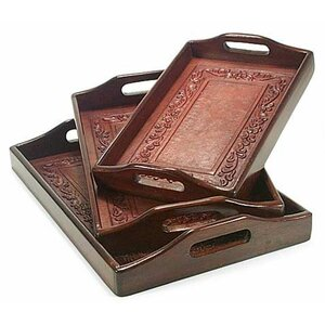 3 Piece Unique Leather and Wood Serving Tray Set