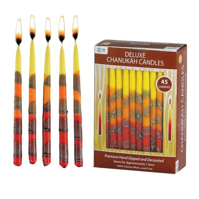 Zion Judaica 45 Piece Premium Hand Made Hanukkah Candles