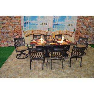Fleur De Lis Living Baragrey 9 Piece Sunbrella Dining Set with Cushions