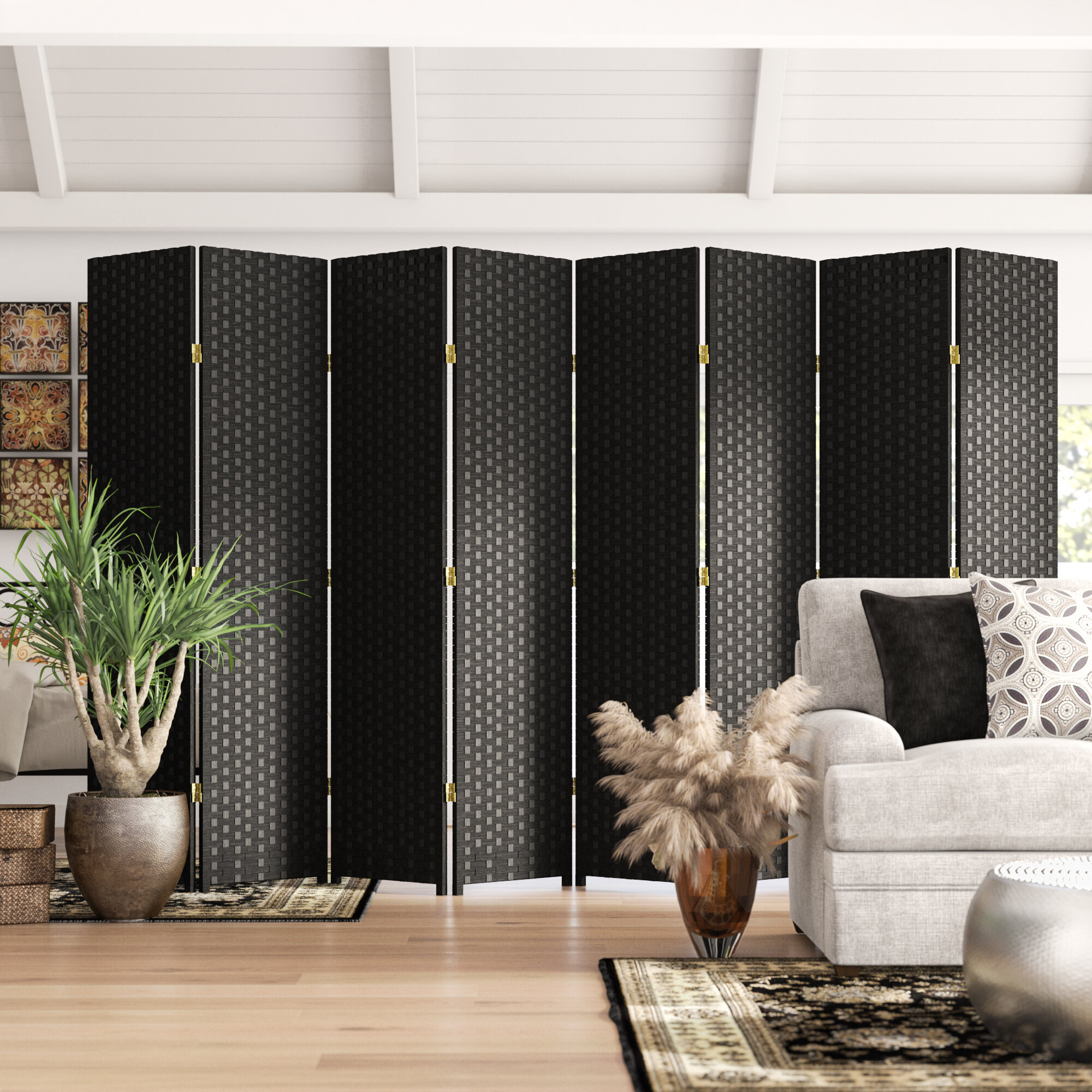 World Menagerie Wassim 128 W X 83 H 8 Panel Solid Wood Folding Room Divider Reviews Wayfair