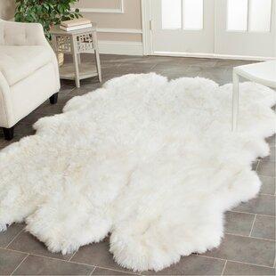 Allison Handwoven Sheepskin White Area Rug