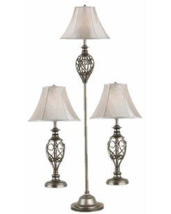 Three Posts Pellston 3 Piece Table and Floor Lamp Set