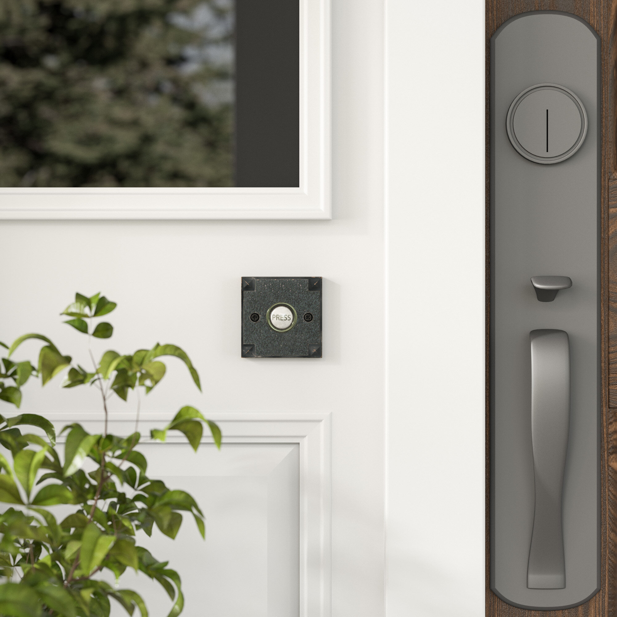 Picture of: Oil Rubbed Bronze Hard Wired Home Metal Doorbell Button Halo Lighted Door Bell
