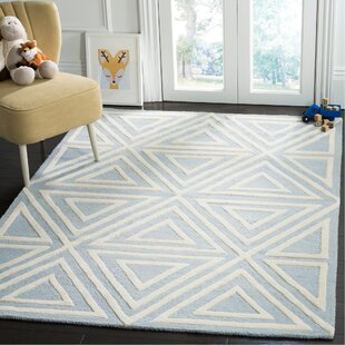 Brenner Hand-Tufted Wool Blue/Ivory Triangles Area Rug By Mack & Milo