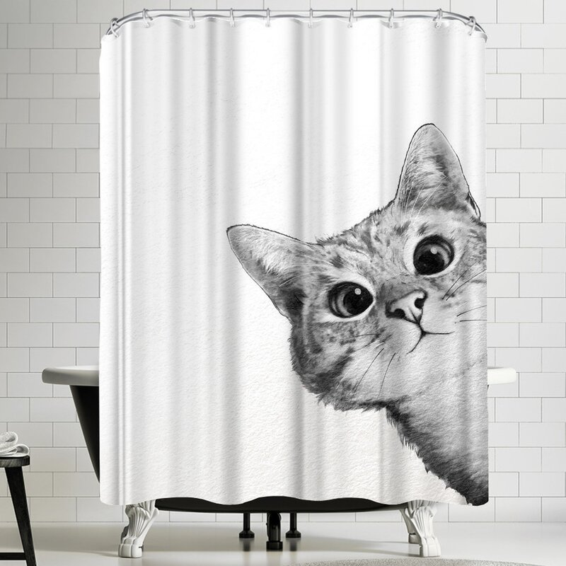 Charmant Laura Graves Sneaky Cat Shower Curtain