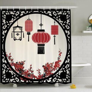 Jody Lantern Flowers New Year Shower Curtain Set