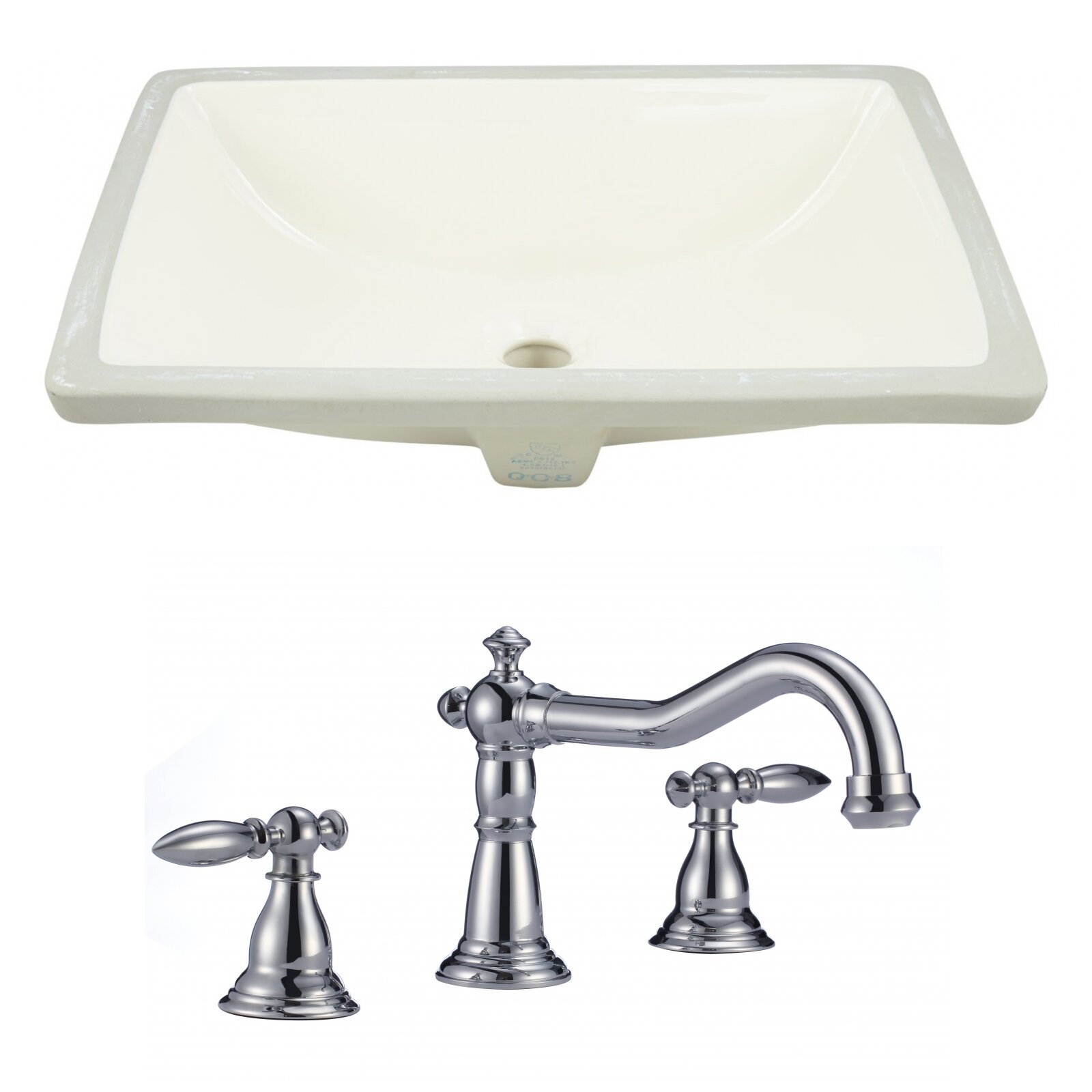 American Imaginations Cupc Ceramic Rectangular Undermount Bathroom Sink With Faucet And Overflow Wayfair