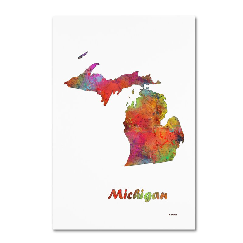 Trademark Art Michigan State Map 1 Graphic Art Print On Canvas Wayfair
