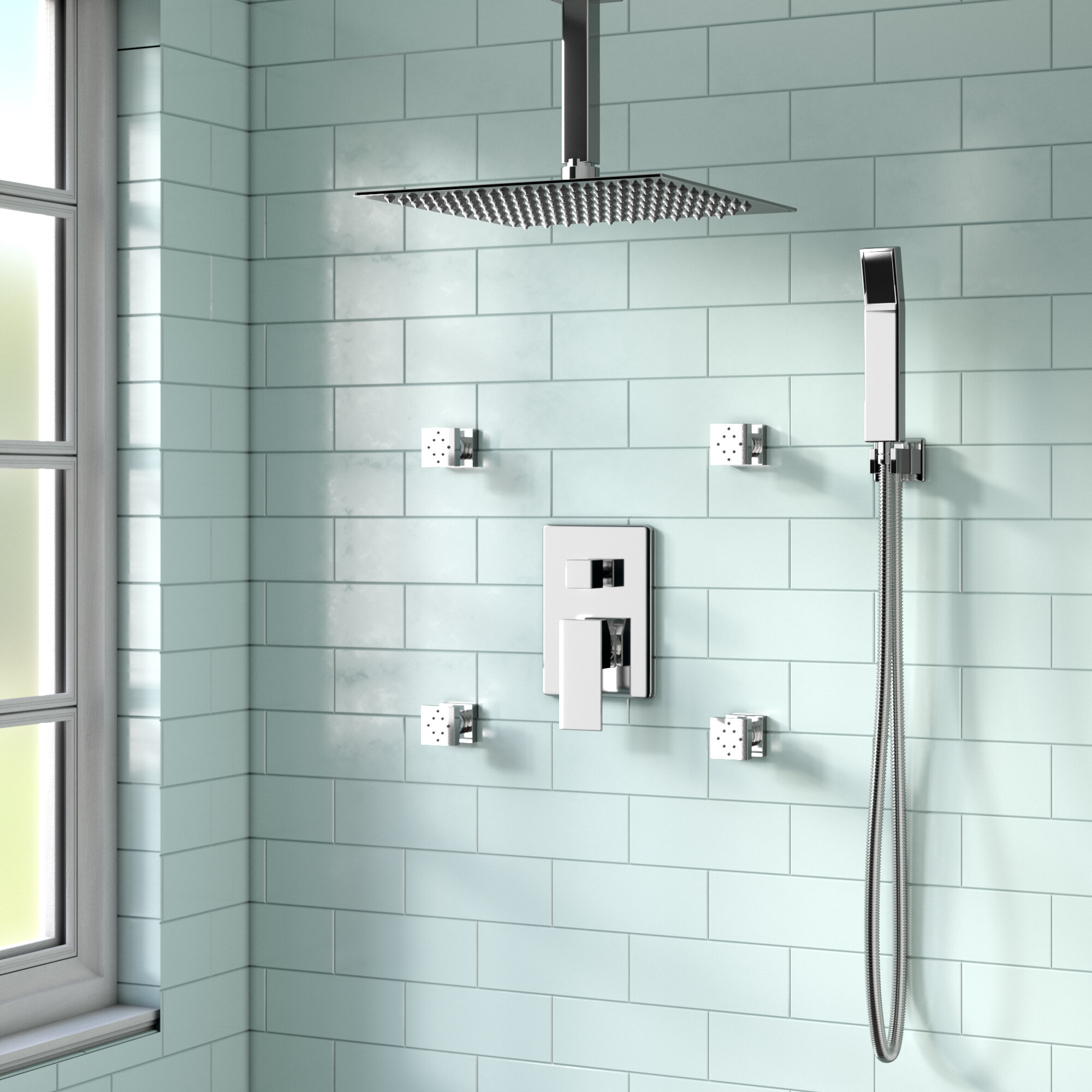 Rebrilliant Cahoon Complete Shower System With Rough In Valve Reviews Wayfair