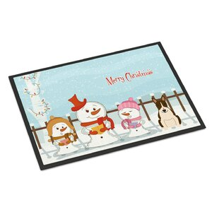 Merry Christmas Carolers Bull Terrier Doormat
