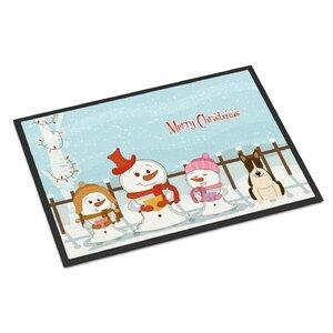 Merry Christmas Carolers Bull Terrier Doormat