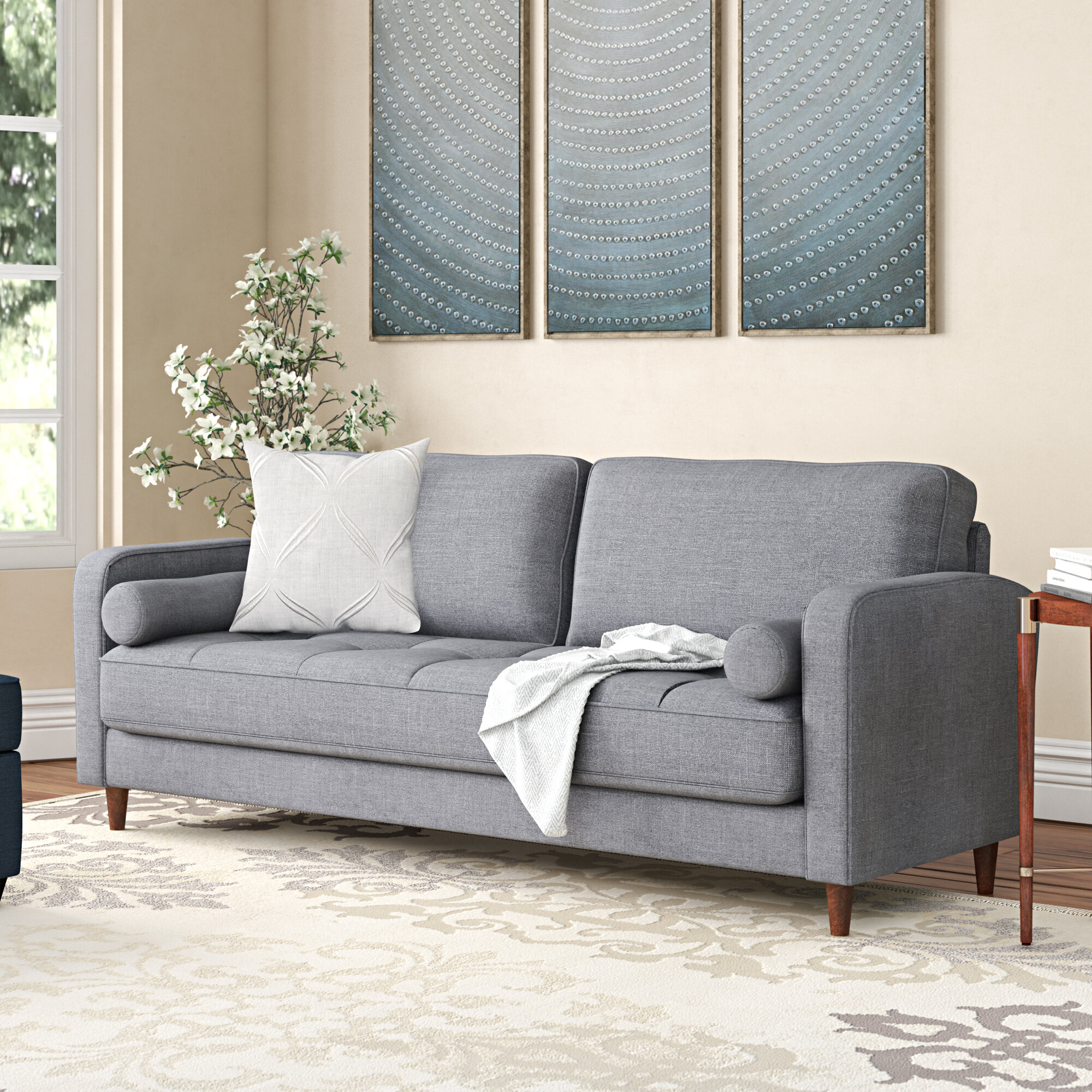 Madison Home USA Mid-Century Modern Linen Fabric Living Room Sofa ...