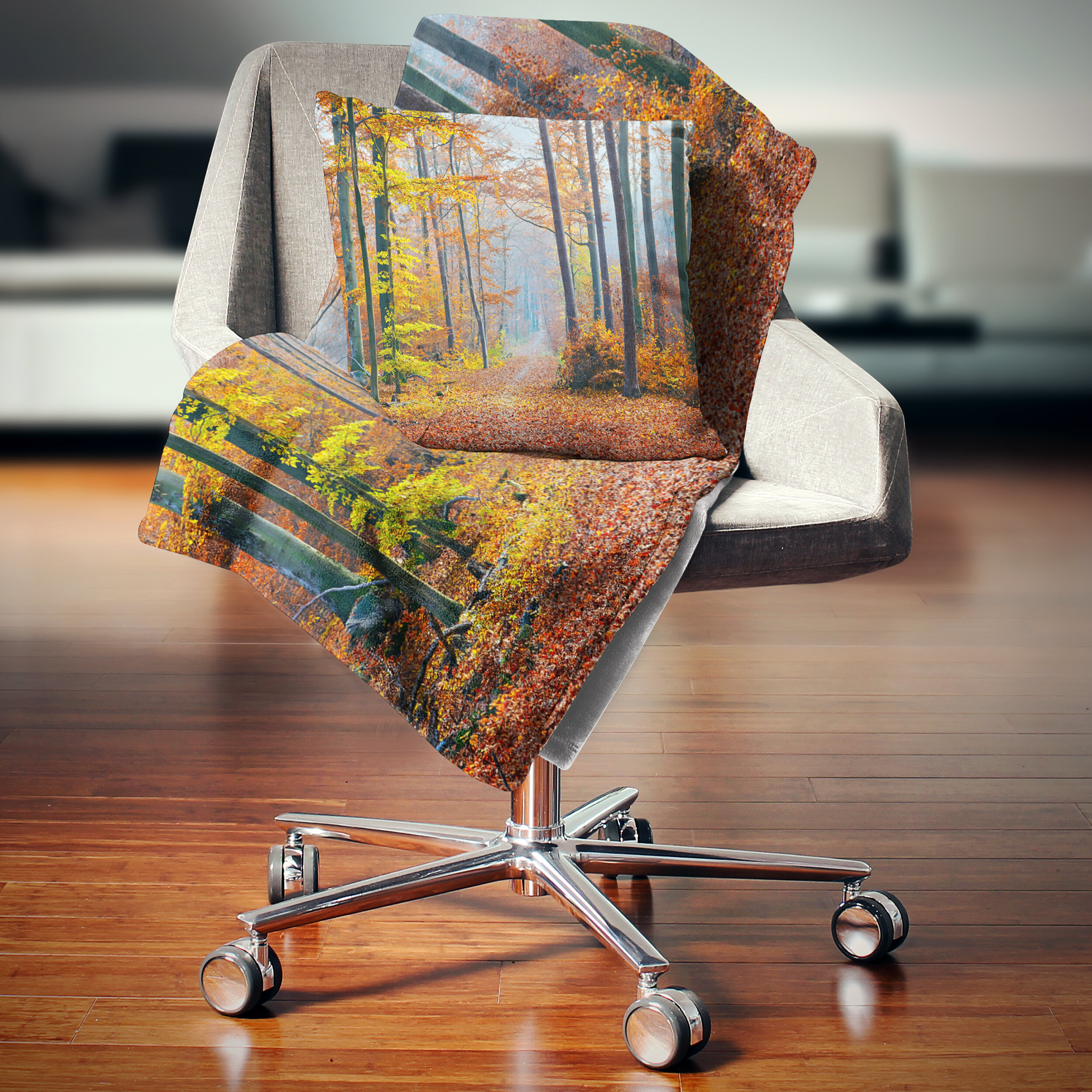 East Urban Home Fall Leaves In Forest Landscape Photography Pillow Wayfair