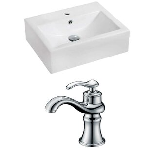 Best Reviews Ceramic 20 Wall-Mount Bathroom Sink with Faucet and Overflow ByRoyal Purple Bath Kitchen