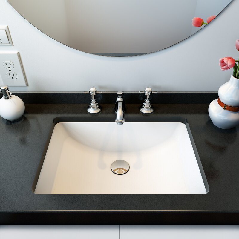 A&E Bath and Shower Fusion Ceramic Rectangular Undermount Bathroom Sink with Overflow