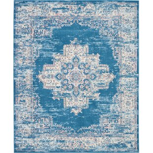 Susan Traditional Distressed Medallion Blue/Ivory Area Rug by Charlton Home